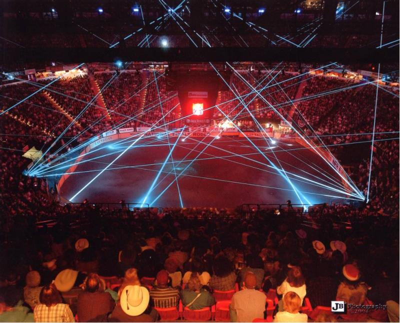 WNFR Rodeo finals with laser effects